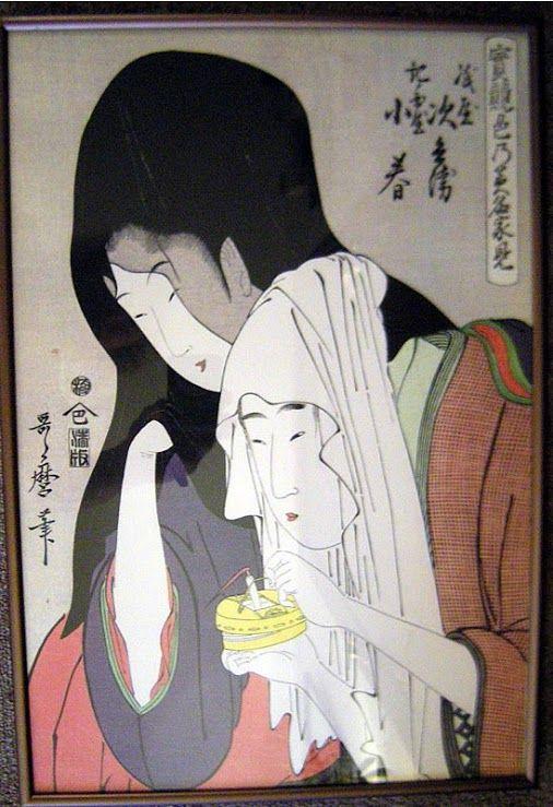 Jihei of Kamiya Eloping with Koharu of Kinokuniya,  実競色乃美名家見_紙屋次兵衛・紀ノ国屋小春 by Kitagawa Utamaro 喜多川 歌麿1753 – 31 October 1806)