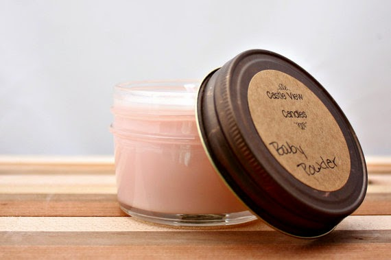 Baby Powder 4oz Mini Mason Jar Soy Candle baby shower party favor light pink