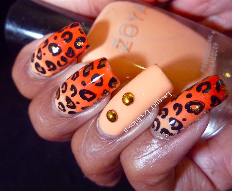 Lacquer Lockdown - Marianne Nails, MN13, leopard print, nail art stamping blog, Zoya Thandie, Zoya Cole, Essie Geranium, gradient nail art, summer nail art, cute nail art ideas, diy nail art, summer nail art ideas, Mundo de Unas #1, mundo de unas stamping polish, nail art stamping blog, nail art stamping, studded nail art,
