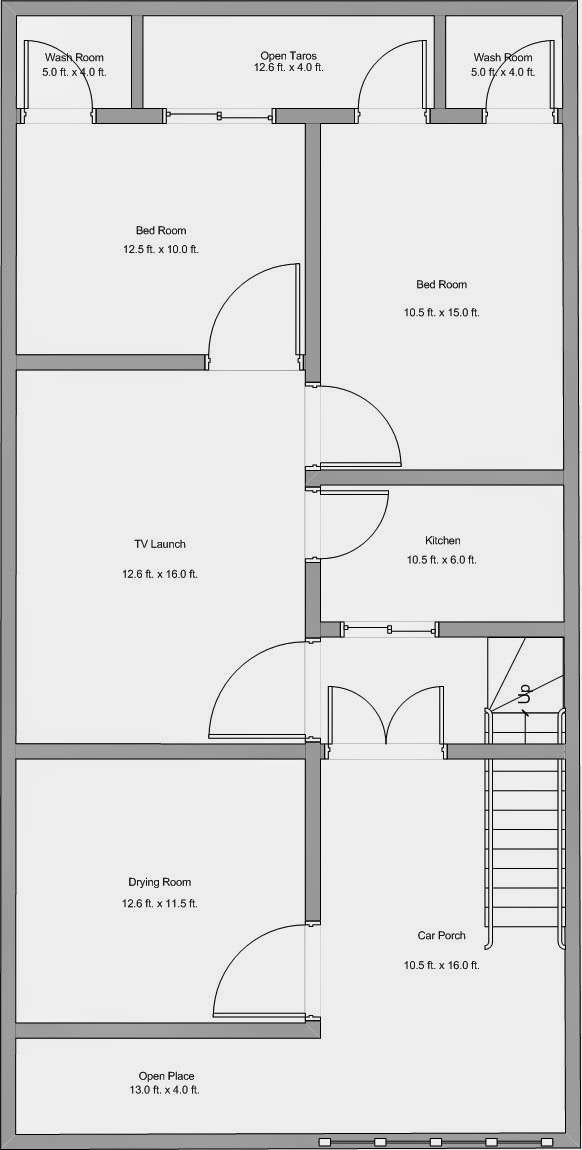Alijdeveloper blog floor plan of plot size 25 x 50 feet for 25x50 house plan