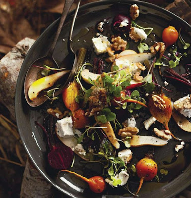 Beetroot, pear and feta salad