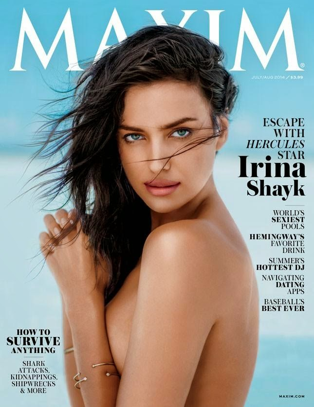 Irina Shayk goes topless for Maxim US July 2014