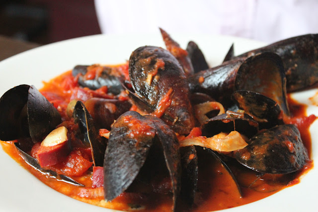 Spicy mussels at Sophia's Grotto, Roslindale, Mass.