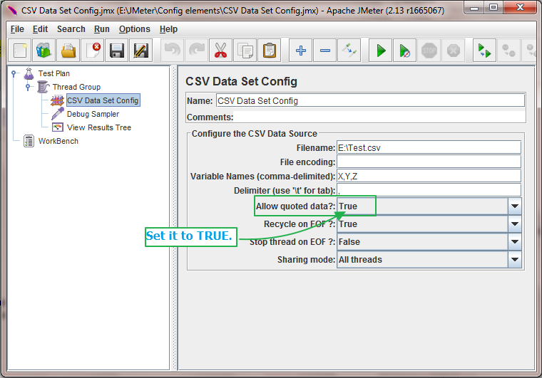 JMeter - Allow Quoted Data? Usage In CSV Data Set Config