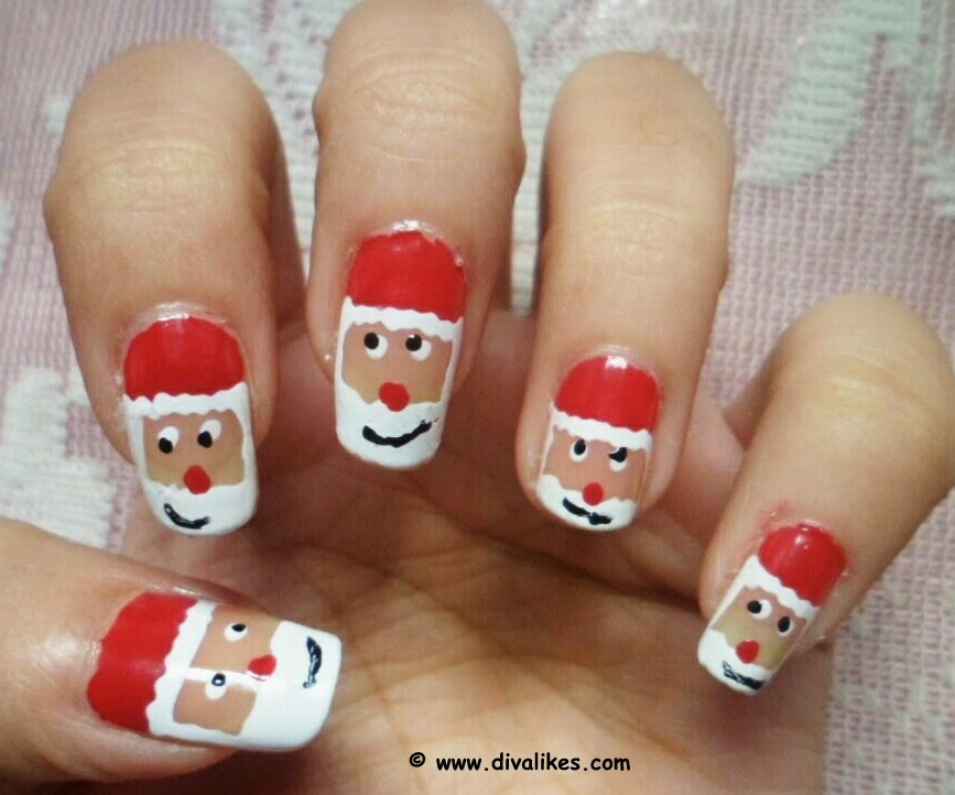Santa Claus Nail Art Tutorial Diva Likes