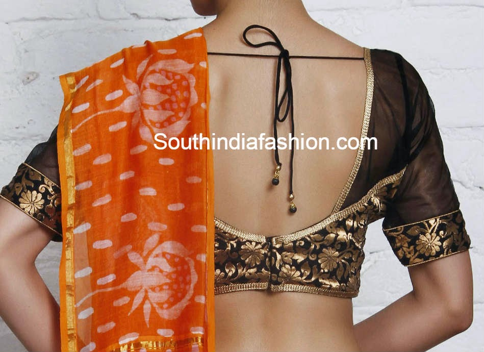 sari blouse with net sleeves and neck