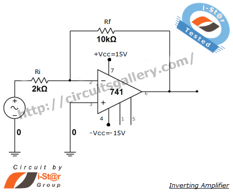 Op Amp 741 Inverting Amplifier Circuit Simulation with output wave