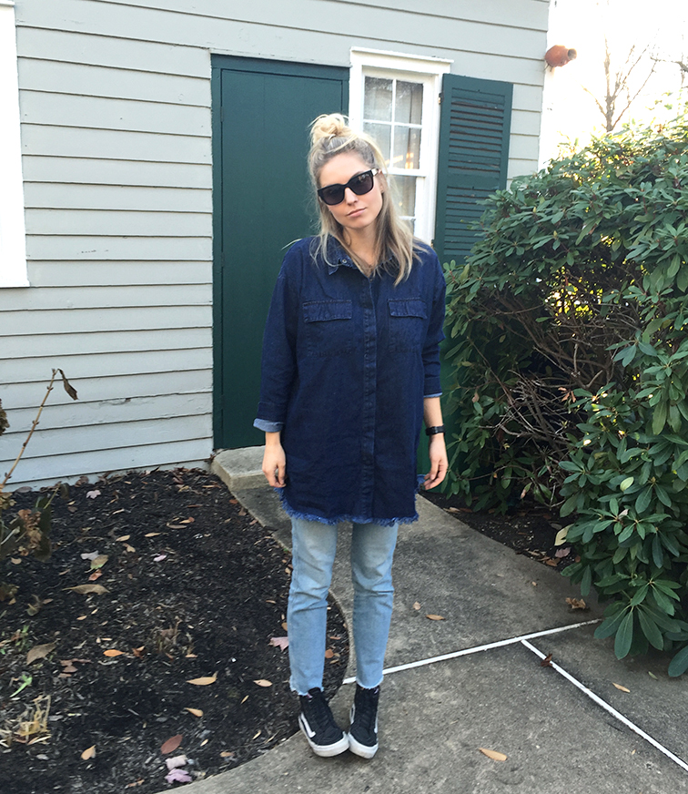 Shore Projects watch, Raen Garwood sunglasses, Vans leather high top sneakers, Frame denim jeans, Need Supply dark denim top dress