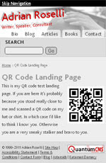 Screen shot of my QR code landing page on a mobile device.