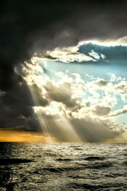 Beautiful Sunbeams Over Sea, Baltic Sea