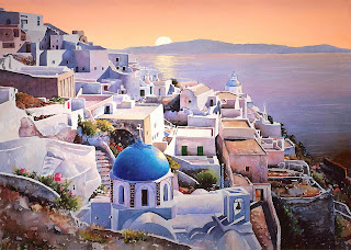 greek island Santorini painting