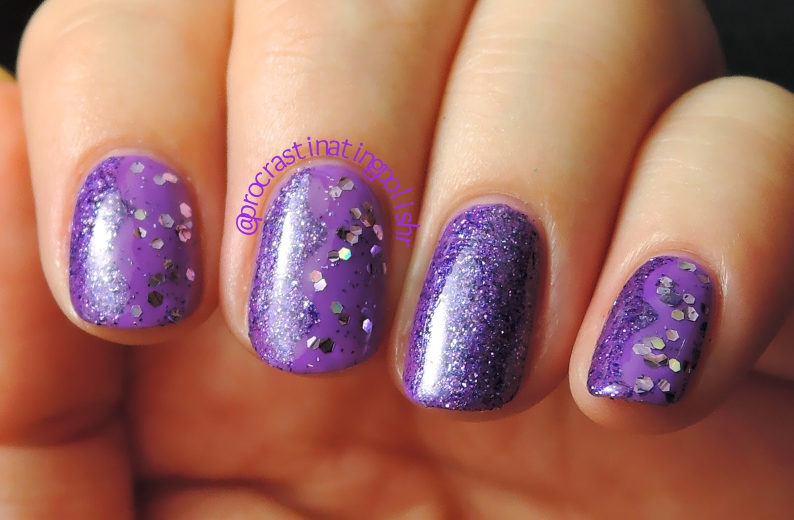 Purple glitter nail art 52WPNMC