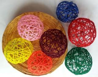 Steb by step – Membuat Bola Benang Warna Warni Berbagai Ukuran