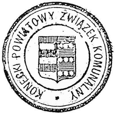 Pieczęć Koneckiego Powiatowego Związku Komunalnego z 1938 roku; średnica 38 mm (zbiór K. D.)