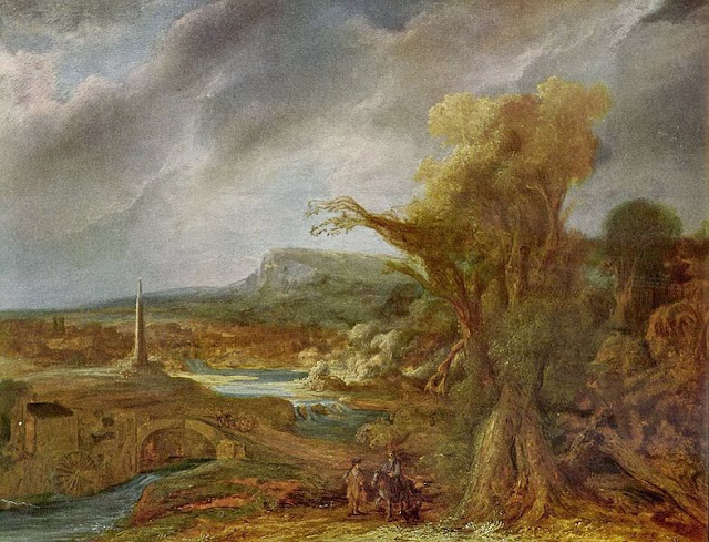 "Picture of Painting ""Landscape With an Obelisk"" by Govert Flinck, 1638, was stolen in 1990 from the Isabella Stewart Gardner Museum in Boston, MA"