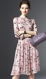 Dust Pink/Blue Leaf Print Chiffon Flare Dress