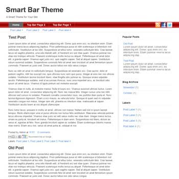 SmartBar Red blogger template. download clean and minimalist blogger template