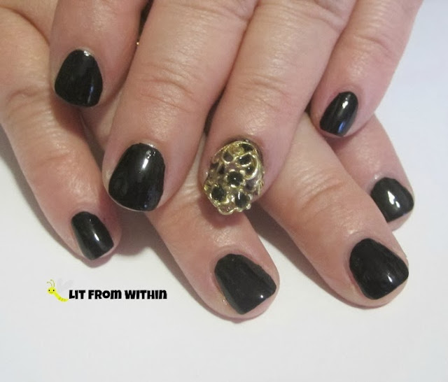 classic black with Cult Nails Nevermore.  I put some black rhinestones in my Nail Veil, too