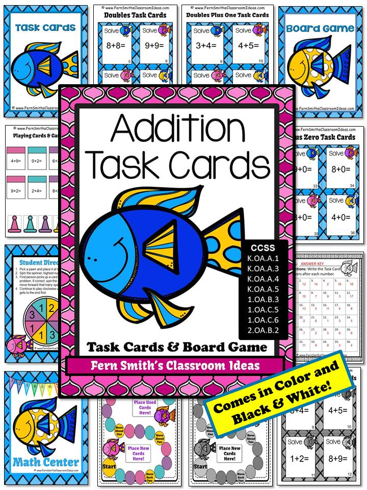 Fern Smith's Classroom Idea's ~ Ocean Themed Addition Task Cards and Board Game