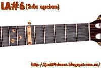 gráfico de Acorde Mayor con sexta (6) en Guitarra