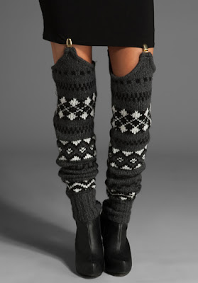 grey black white pattern knitted suspender legwarmers
