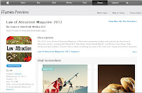 Law of Attraction Magazine 2012 App page on iTunes
