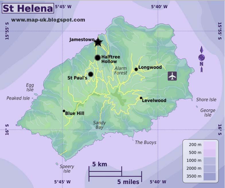 Map of UK Saint Helena Regional Political Map