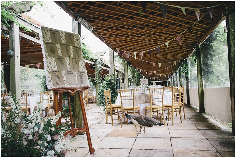 Pergola decorated for wedding reception