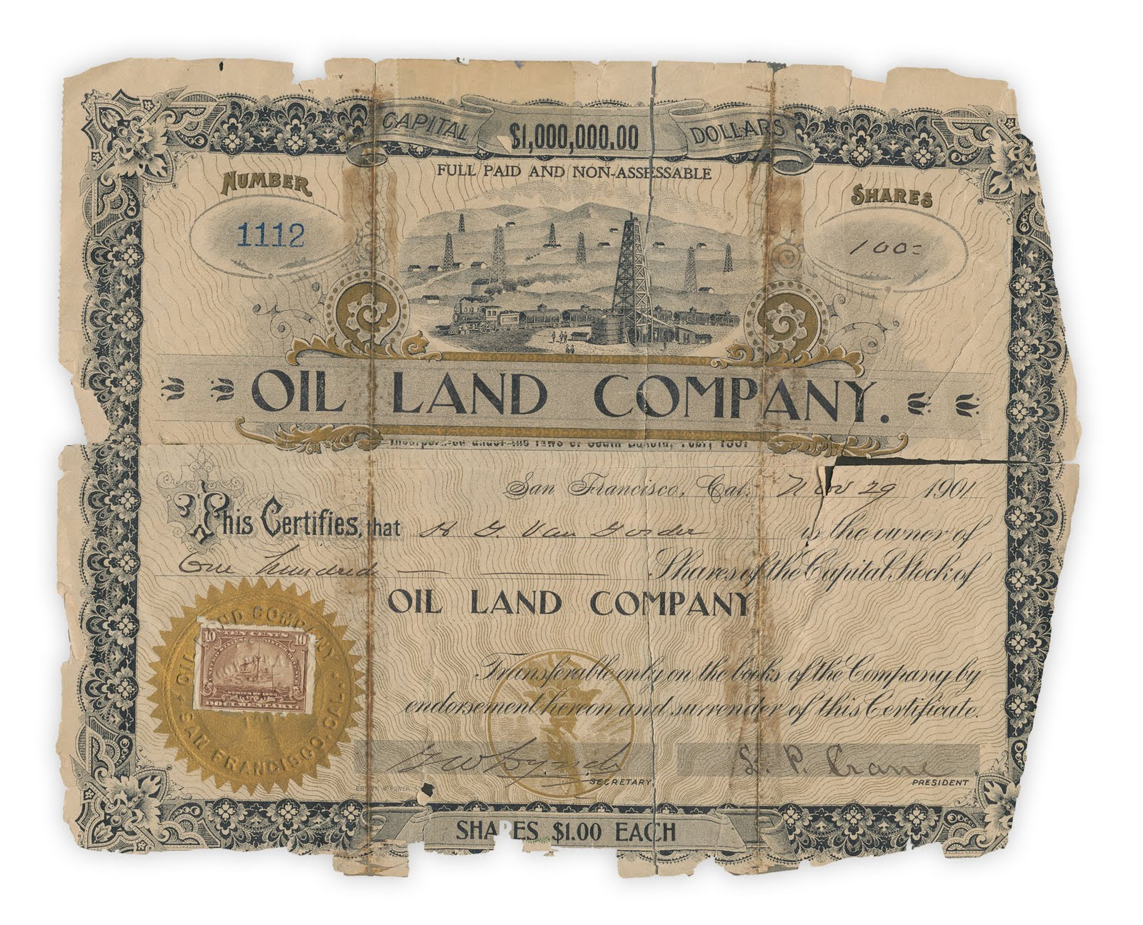 Oil and Land Company, 100 Shares