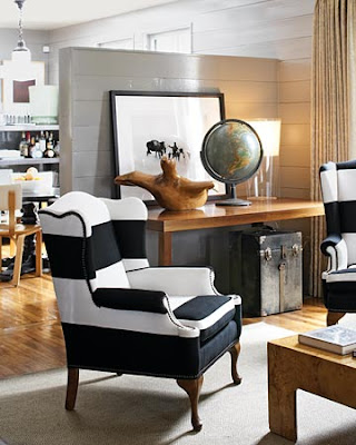 Getting Black And White Stripes Furniture Like The Wing Back Chairs Above Is A Subtle But Eye Catching Way To Add Trend