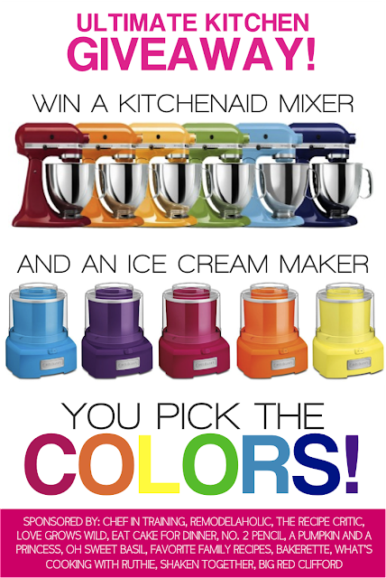 Enter to win a KitchenAid Mixer and Ice Cream Maker at LoveGrowsWild.com   Winner picks the colors! #giveaway
