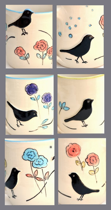 colourful Bird design tableware in stoneware pottery