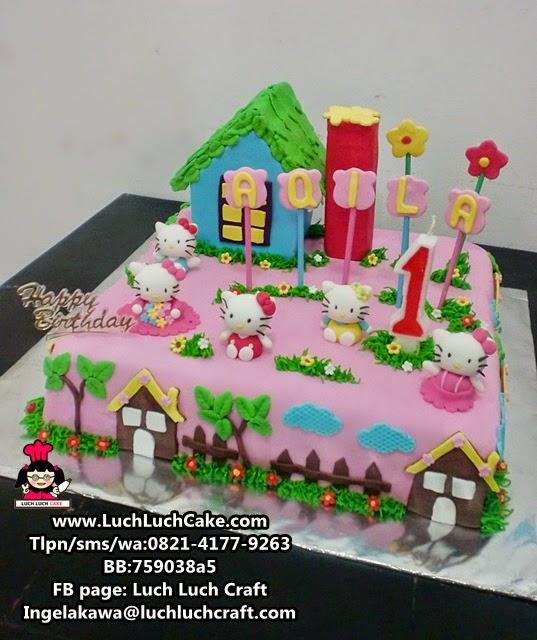 Luch Luch Cake Kue Tart Hello Kitty Fondant Untuk Ulang