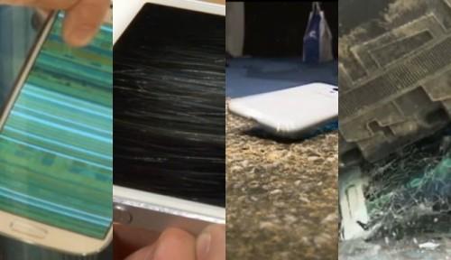 il video con vari test di resistenza, come immersione nell'acqua, caduta dall'alto, graffi e urti sui display per i due top smartphone iPhone 5 e Samsung Galaxy S IV