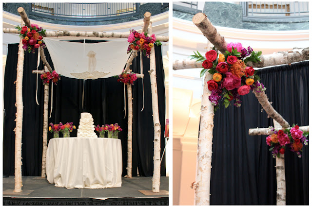 birch chuppah ann arbor university of michigan museum of art wedding UMMA flowers aisle decor gold chivari chairs sweet pea floral design art and flowers placecard table designs garden roses protea branch centerpieces succulents