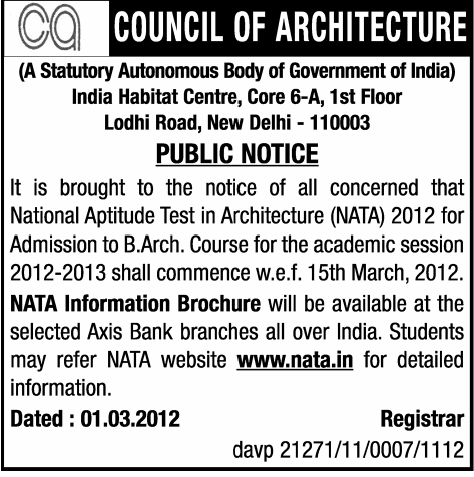... for the National Aptitude Test in Architecture (NATA) 2012-13.