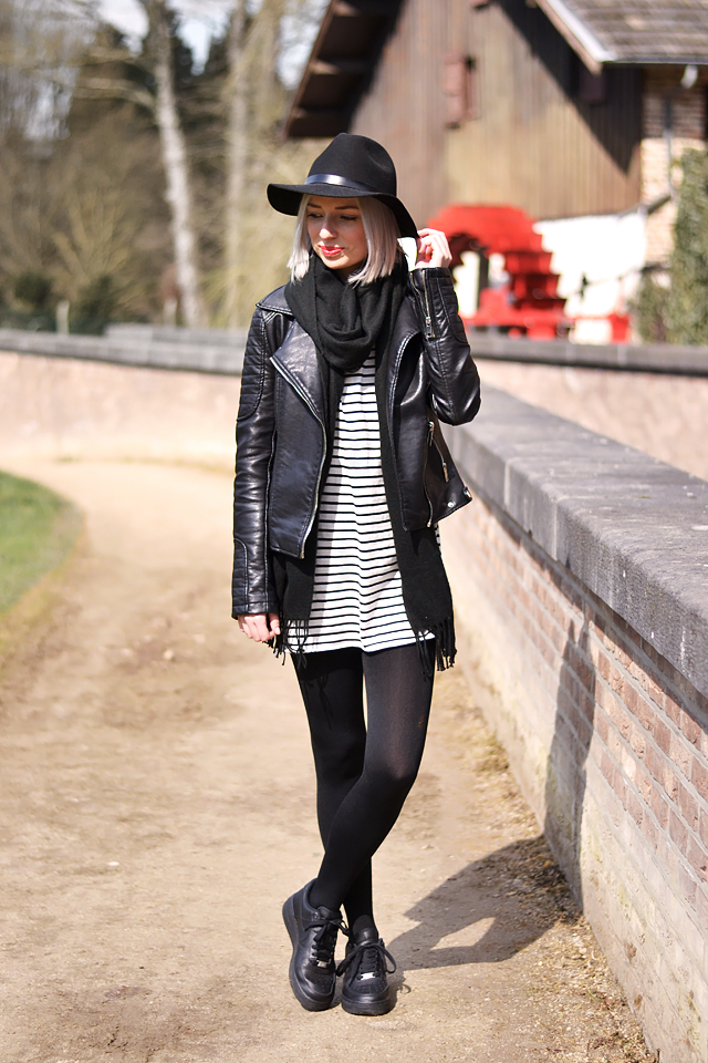 Striped dress, felt hat, wool scarf, leather biker jacket, nike air force 1 black, fedora hat