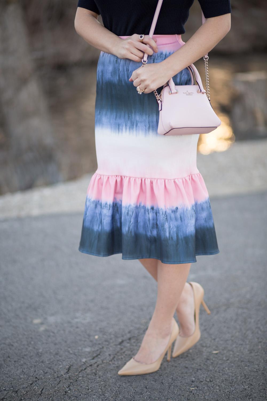 Pink and Navy Asos Peplum Skirt