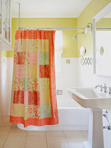 Patchwork Shower Curtain Brighten Early Mornings With Warm Colors In A Pieced Together Shower Curtain Make This Uncomplicated Project For The Bathroom