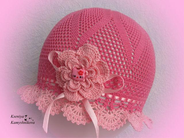 Croche Madona-mía puntos y graficos: Sombrero para niña modelo 5