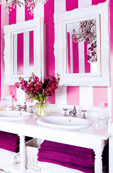 pink and white vanity