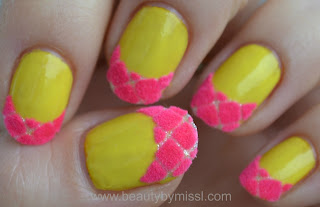 pink yellow nails, nails of the day