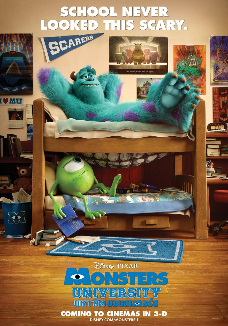 Mike and Sully in thier college dorm room.