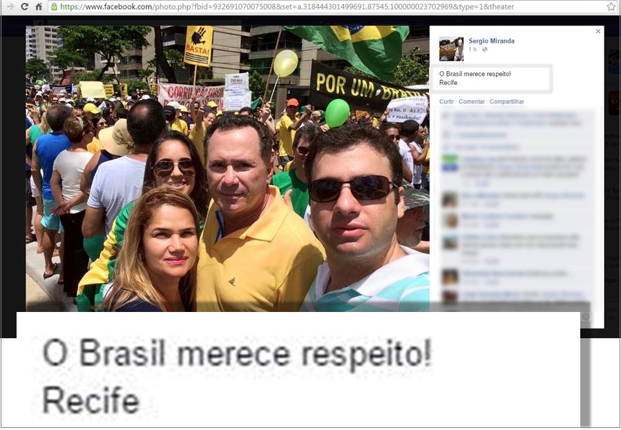 Prefeito de Panelas-PE Sérgio Miranda e familia participam de protesto contra Dilma Rousseff
