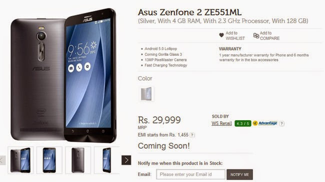 ASUS Releases Secretly Zenfone 2 Memory 128GB