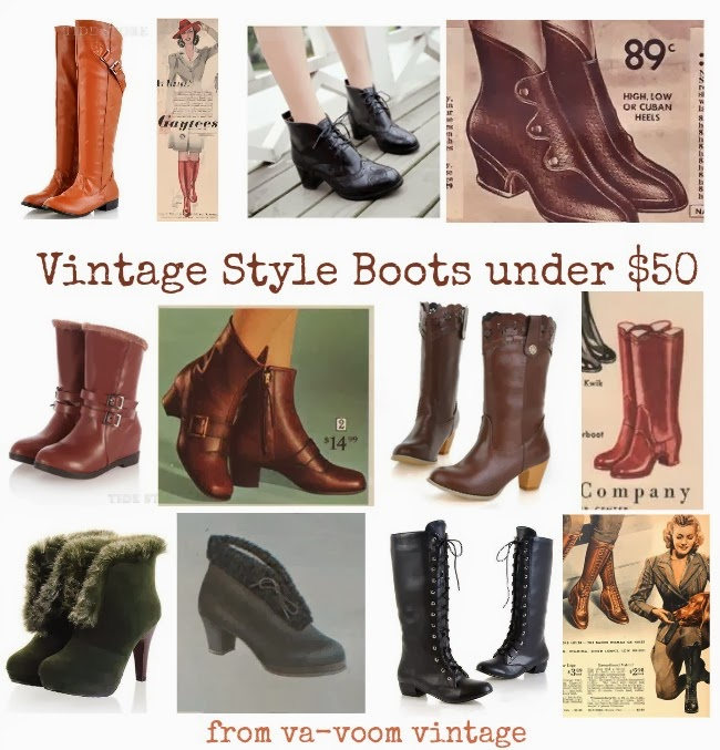 cheap vintage 1940s 1950s winter snow and spring boots under $50
