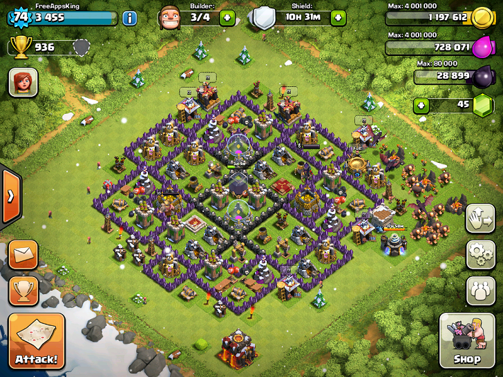 FreeAppsKing - Clash Of Clans Village - Level 74 - Clash Of Clans Guide - FreeApps.ws