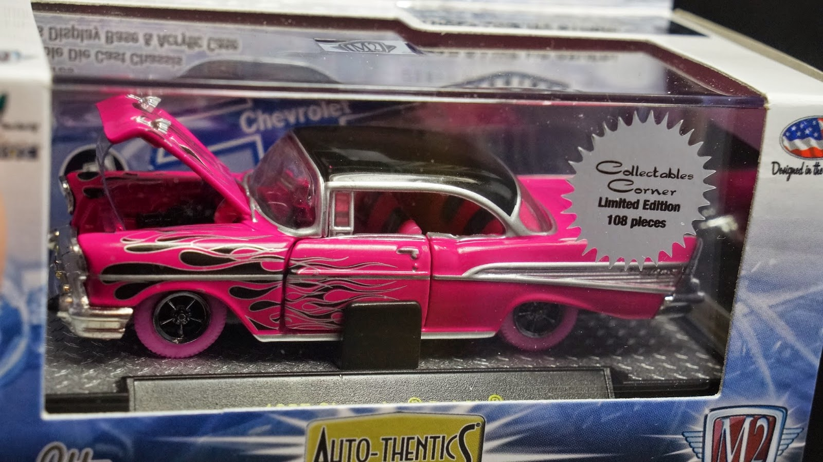 M2 Machines 1957 57 Chevy Bel Air Smokin Hot Pink With