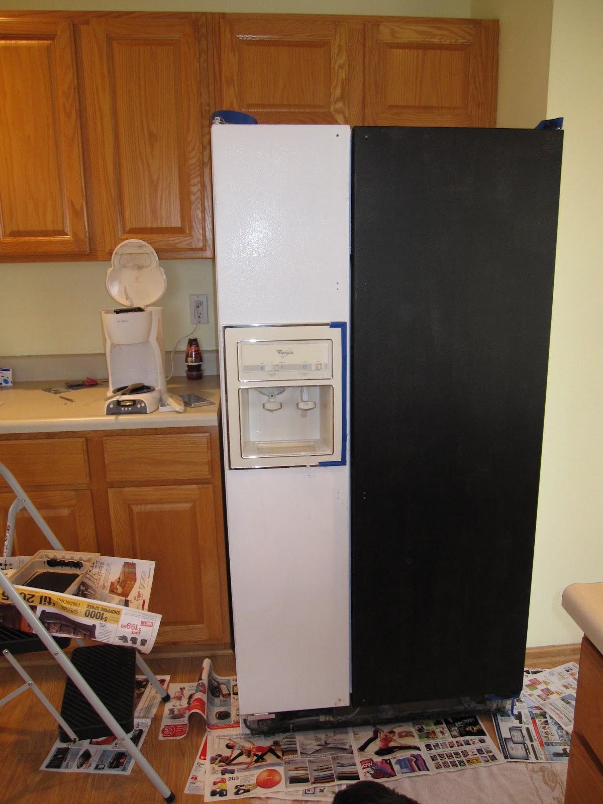 in progress chalkboard fridge. Black Bedroom Furniture Sets. Home Design Ideas