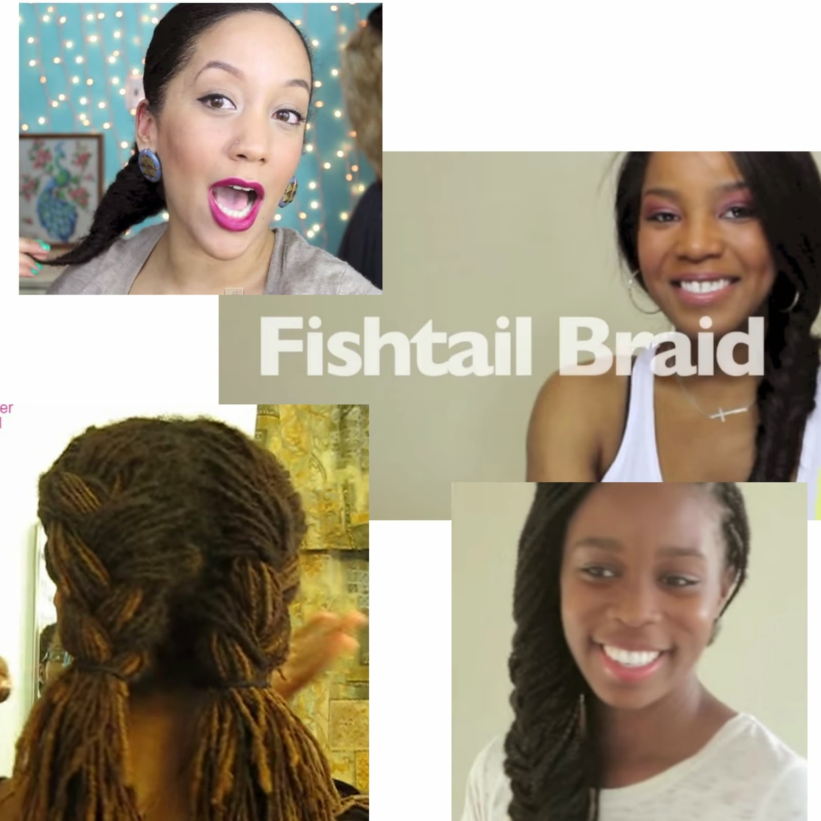 Fishtail Braid On Locs, Box Braids, Curly & Straight Natural Hair